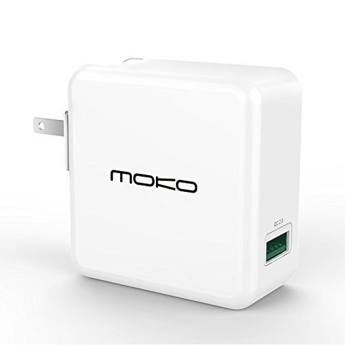 [Qualcomm Certified] MoKo Qualcomm Quick Charge 2.0 Technology 1-Port USB Wall Charger, for Samsung S7 / S7 Edge / S6 / S6 Edge, Google Nexus 6, HTC M9 and More, WHITE