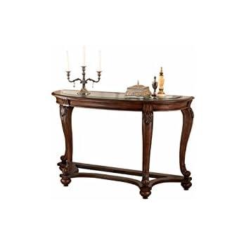 Beautiful Ashley Furniture Signature Design   Norcastle Glass Top Sofa Table    Semi Circle   Dark