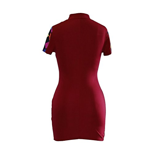 Zipper Sexy Short Front Red Sleeve Mini GYLJP Checkered Dress Women Colorful Bodycon pH5fqwwXx