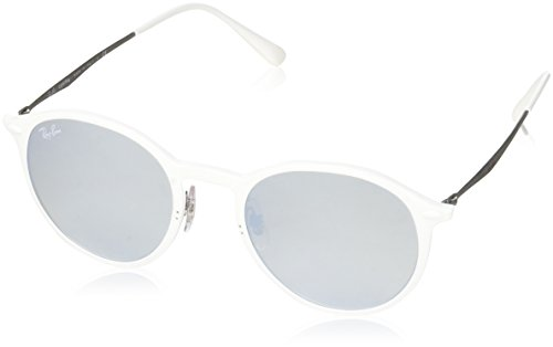 Ray-Ban Men's Light Ray Non-Polarized Iridium Round Sunglasses, White, 49 - Bans White Ray