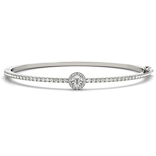 Diamond Halo Bangle Pave Bracelet 18k White Gold (1.80ct)