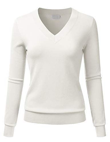 LALABEE Women's V-Neck Long Sleeve Soft Basic Pullover Knit Sweater Ivory S
