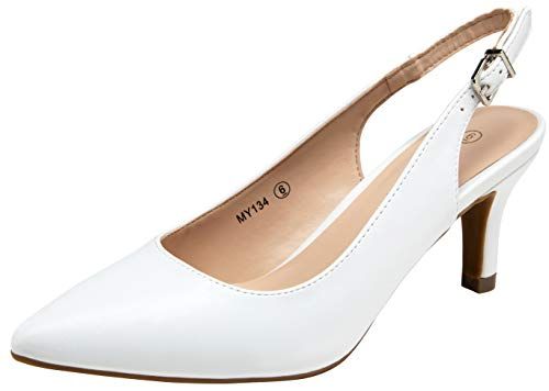 VOSTEY Women Low Heel Dress Shoes Kitten Heel Slingback Pumps(9,Kitten Heels-White Pu/134A)