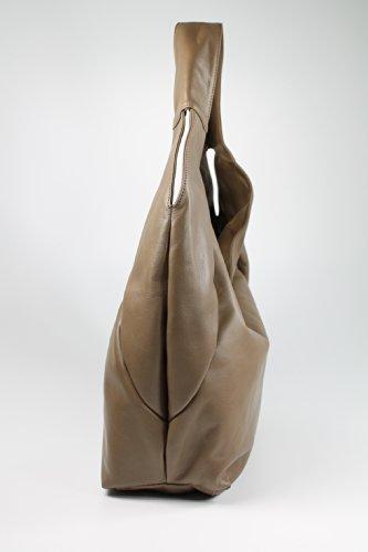 """Belli® - Borsa a spalla da donna, modello """"Bellissima"""", taglia XL, in pelle, dimensione: 34 x 23 x 17 cm, colore: talpa"""