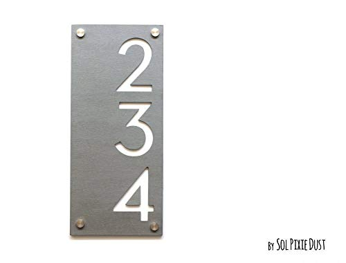(Modern House Numbers, Concrete with White Acrylic - Vertical - Contemporary Home Address -Sign Plaque - Door Number)