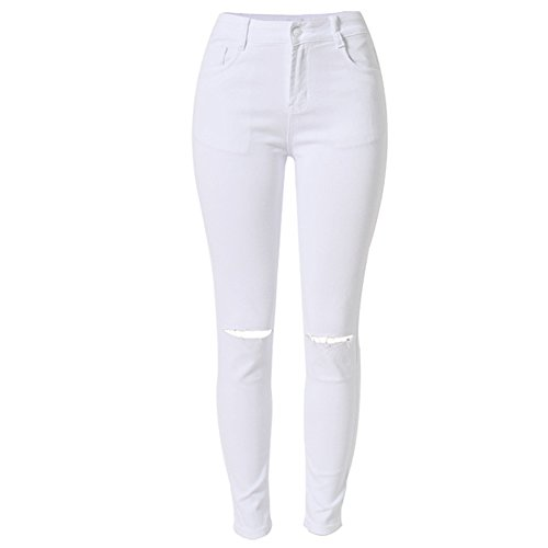 LIYT Women's Fashion Slim Fit Knee Ripped Hole Jeans Trousers Pencil Pants