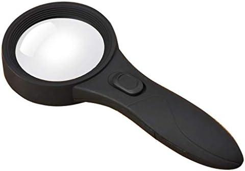 ZY-YY ハンドヘルド拡大鏡、LEDライト偽造ライトHD旧学生読書5X