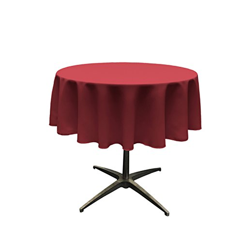 LA Linen Polyester Poplin Tablecloth 51-Inch Round, Cranberr