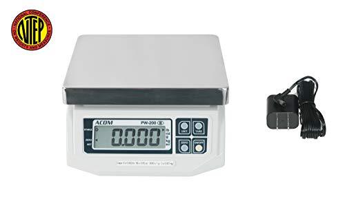 ACOM PW-200 Digital Portion Control Scale, Dual Display, Lb/Oz/Kg/g Switchable, Low Profile Design, 6lb Capacity, 0.002lb Readability, NTEP Legal for Trade