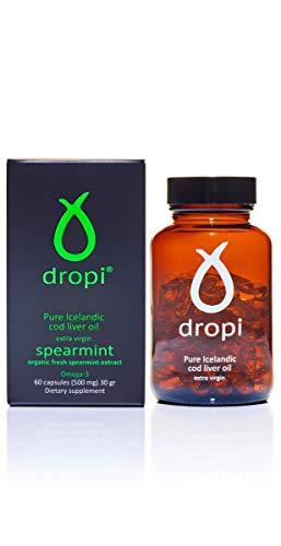 Dropi Pure Icelandic Cod Liver Oil Extra Virgin (60 Capsules - Spearmint) ()