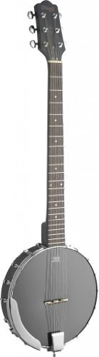 Stagg BJW-OPEN 6-String Open Back Guitar Banjo with Guitar Headstock - Black by Stagg