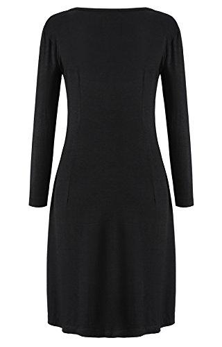 kormei mujeres Casual 3/4Sleeve Slim Fit cuello redondo Llanura Túnica Vestido Largo negro