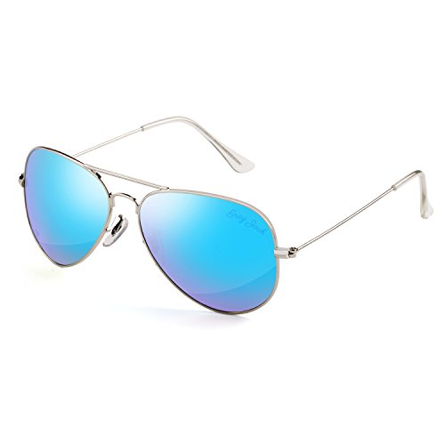 GREY JACK Polarized Classic Aviator Sunglasses Military Style for Men Women Silver Frame Ice Blue Lens - Grey Lens Polarized