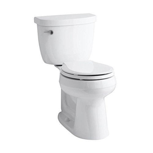 Height Two Piece Round Front (KOHLER K-3851-0 Cimarron Comfort Height Two-Piece Round-Front 1.28 GPF Toilet with Aqua Piston Flush Technology, 10-Inch Rough-In and Left-Hand Trip Lever, White)