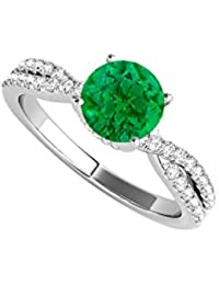 Sterling Silver Criss Cross Design Ring with Emerald CZ