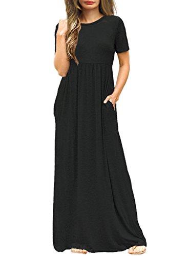 Sarin Mathews Women's Short Sleeve Loose Casual Long Maxi Dress with Pockets Black XL