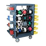 Mobile Wire Spool And Product Rack 8-Rod Steel Cart With Casters 1 Min
