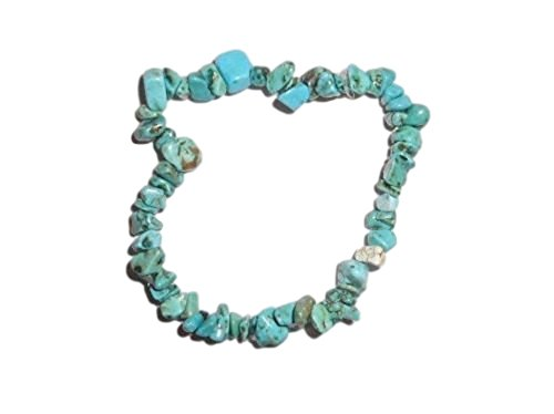 1pc Natural Healing Crystal Blue Turquoise Chip Gemstone 7 Inch Stretch Bracelet