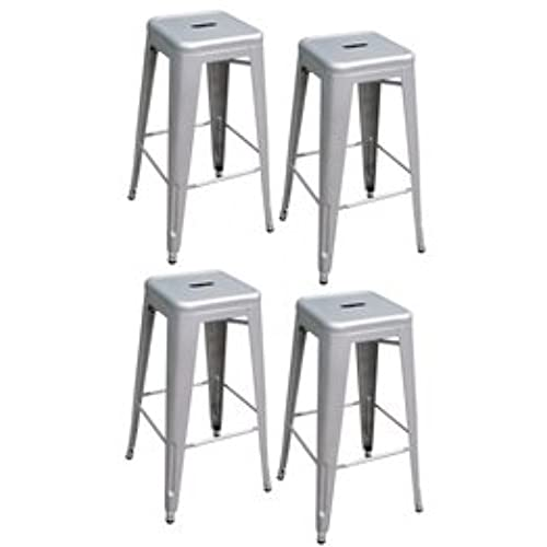 Incroyable AmeriHome Metal Bar Stool Set, 30 Inch, Silver, Set Of 4