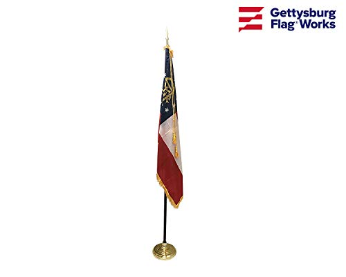 (3x5' Georgia Indoor Flag Set, Includes Indoor Flag, Base, Pole, Spear Finial and Decorative Cord and Tassel)