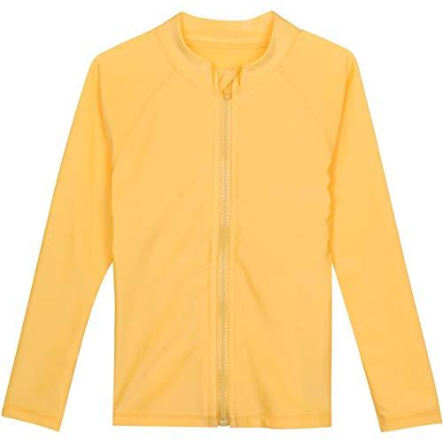 - SwimZip Little Boys' Long Sleeve Zipper Rash Guard UPF 50+ Yellow