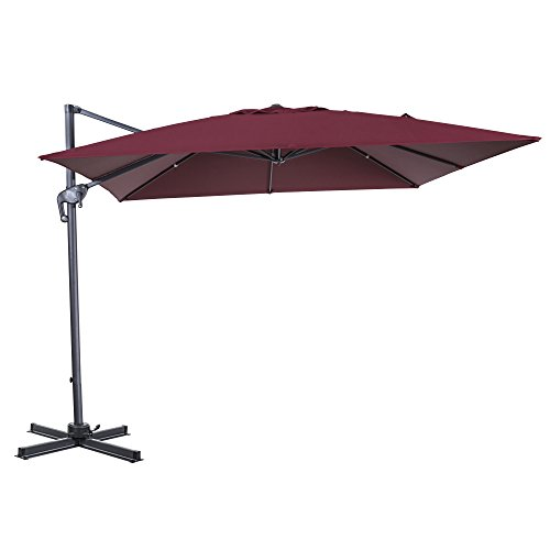 Cloud Mounatin 10 x 10 Ft Patio Umbrella Offset Outdoor Umbrella, 8 Ribs 100% Polyester Cross Base Cantilever Hanging Umbrella, 360 Degree Rotation (Burgundy) For Sale