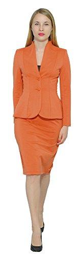 (Marycrafts Women's Formal Office Business Work Jacket Skirt Suit Set 22 Orange 3)