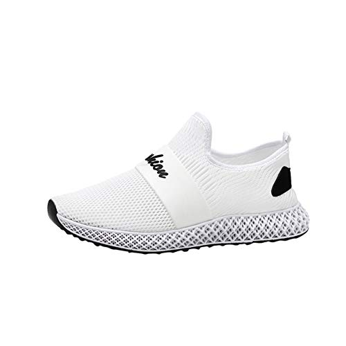 iYBUIA Men's Summer Woven Mesh Walking Shoes Breathable Quick Drying Lightweight Lace-Up Jogging Sneakers Shoes 7-10.5 White