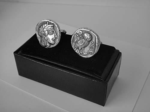 Athena & Owl Cuff Links, Annabeth's Mother, Goddess of Wisdom, Greek Coins, Greek Mythology (12C-S),