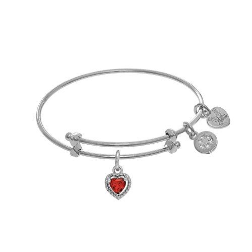 Angelica January Heart Shape CZ Birthstone Charm Expandable Tween Bangle Bracelet -  Angelica Collection