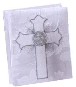 God Bless This Baby' Satin Photo Album blue embroidered edged cross