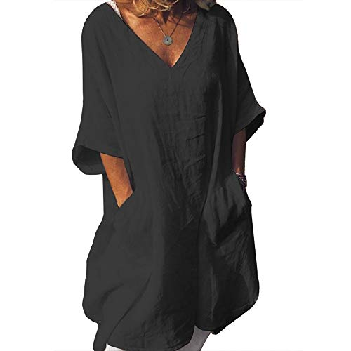 Cicy Bell Women's V Neck Linen Tunic Tops Half Sleeve Summer Loose Fit Casual Dresses with Pockets (Black, Medium)
