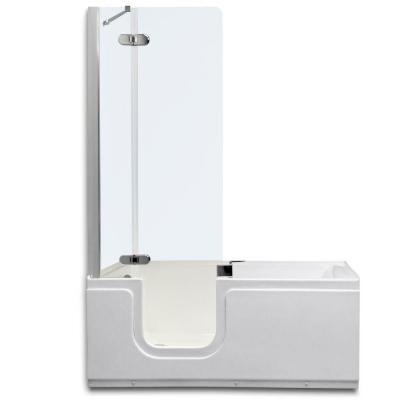 4.92 ft. Left Drain Universal Walk-In Bathtub with Clear Tempered Glass Shower in White
