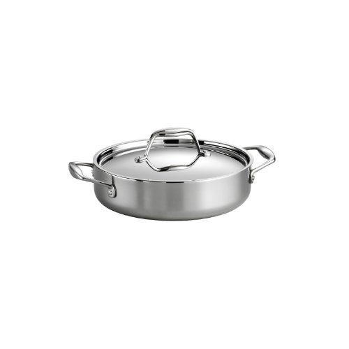 Tramontina 80116/009DS Gourmet Stainless Steel Induction-Ready Tri-Ply Clad Covered Braiser, 3-Quart, NSF-Certified, Made in Brazil by Tramontina