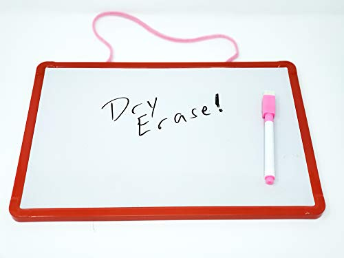 Magnetic Board For Kids - 8 x 12 inch Dry Erase Board For Kids - White Board With Fill-in Math Equations On One Side - Blank Writing Space On Opposite Side (Red)