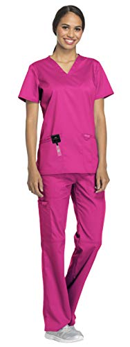 Cherokee Workwear Revolution Women's Medical Uniforms Scrubs Set Bundle - WW620 V-Neck Scrub Top & WW110 Elastic Waist Scrub Pants & MS Badge Reel (Electric Pink - Medium/Large Petite) for $<!--$39.96-->