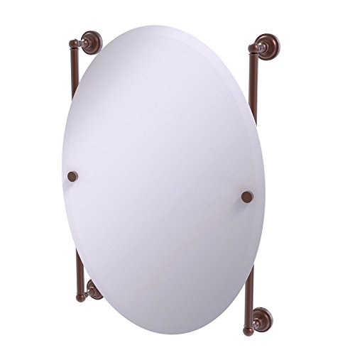 - Allied Brass DT-27-91-CA Dottingham Collection Oval Frameless Rail Mounted Mirror, Antique Copper