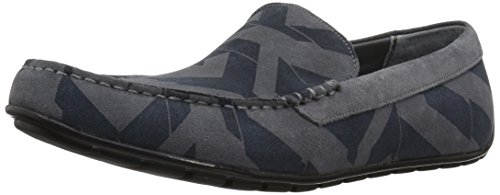 Calvin Klein Men's Isaac Calf Sde/Geo Print/Calf Sde Slip-on Loafer, Grey, 11 M US by Calvin Klein