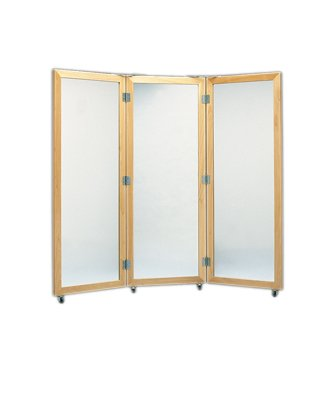 Glass Mirror, Mobile Caster Base - 3-Panel Mirror, 22'' W X 60'' H - 19-1113 by Fabrication (Image #1)