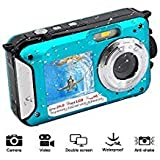 YISENCE Waterproof Digital Camera 1080P Full HD Underwater Camera 24 MP Video Recorder Selfie Dual Screen DV Recording Waterproof Camera, 801L