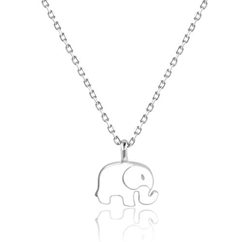 Lancharmed 925 Sterling Silver Lucky Elephant Pendant Friendship Necklace Fine Jewelry for Women Girls