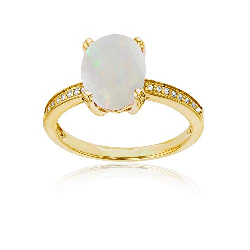 (10K Yellow Gold 0.08 CTTW Round Diamond Channel Set & 10x8 Oval Opal Engagement Ring)