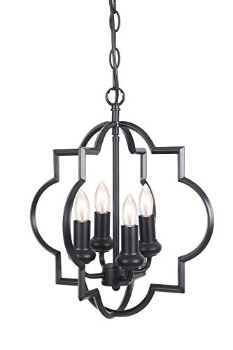 yer Lantern 4-Light Chandelier, Industrial Style Lighting for Entryway, Hallway, Dining Room and Living Room - Matte Black Finish ()