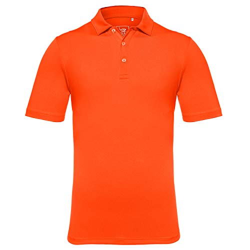 EAGEGOF Men's Regular Fit Golf Polo Shirt Short Sleeve Stretch Quick Dry Performance Polo(Dark Orange, S)