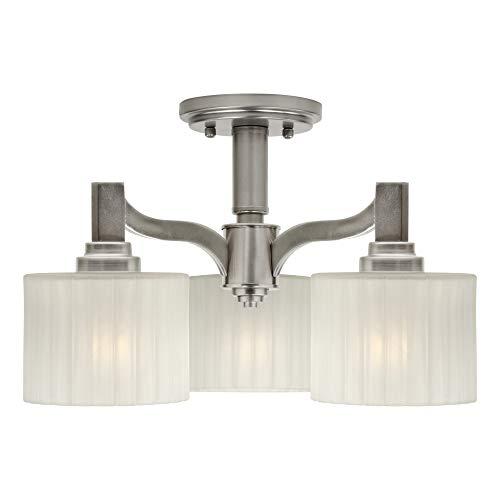 (Forte Lighting 2695-03-55 Signature 3 Light 15 inch Brushed Nickel Semi Flush Mount Ceiling Light )
