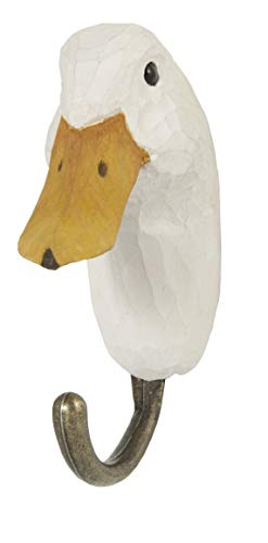 Wood Carving Mallard - WILDLIFEGARDEN Hand-Carved Duck Hook, Sturdy Indoor/Outdoor Wood Wall Hook with Artisanal Life-Like Figurine, Easy-to-Install, Designed in Sweden
