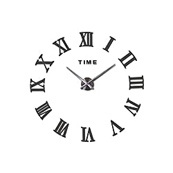 3D Big Acrylic Mirror Wall Clock DIY Quartz Watch Still Life Clocks Modern Home Decoration Living Room Stickers,Dark Gray,37Inch