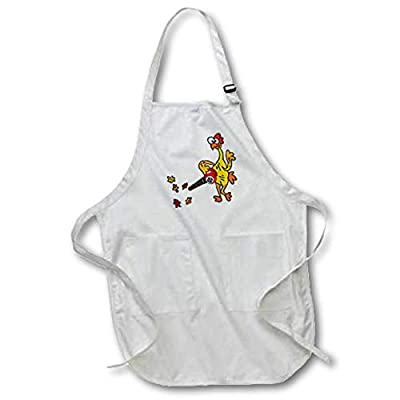 3dRose All Smiles Art - Funny - Cute Funny Unique Rubber Chicken Using Leaf Blower - Aprons