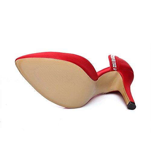 VogueZone009 Damen Ziehen auf Hoher Absatz Satin Eingelegt Spitz Zehe Pumps Schuhe Rot