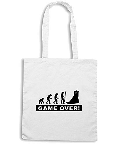 T-Shirtshock - Bolsa para la compra MAT0026 Game Over Evolution Maglietta Blanco